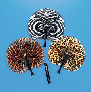 12 Safari Print Folding Fans Jungle Theme Party Decorations Favors