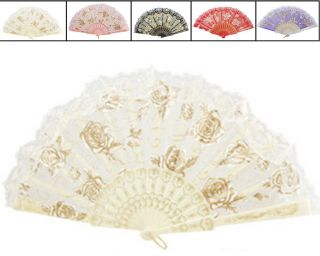 Spanish Flower Hand Held Fan Lolita Folding Fans Party Wedding