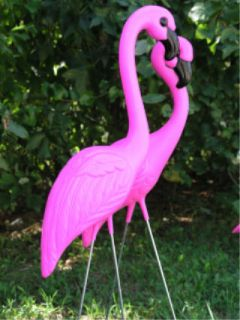 Set 2 Pink Flamingo Yard Lawn Art Garden Ornaments New