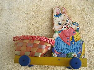 Vintage Fisher Price Rabbit Pull Toy 301