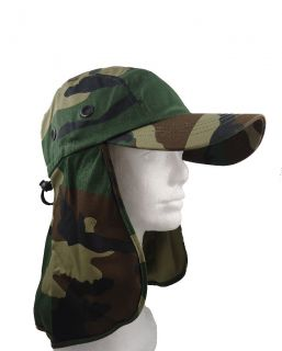 Fishing Summer Hat Cap with Long Neck Flap Army Camo