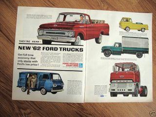 1962 Ford Truck Ad Pickup Van Econoline Big Six Diesel