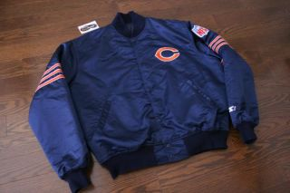 Vintage Chicago Bears Starter Satin Jacket Sz XL NFL Ditka Snap Button