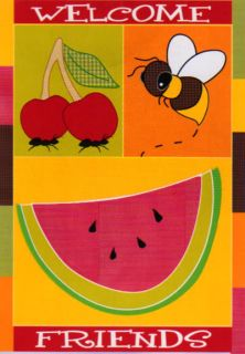 Waermelon Cherries An Bees Large House Porch Flag 28x40