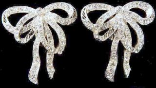 Enormous Vintage Jay Feinberg Strongwater Signed Rhinestone Silver Bow