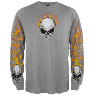 Flame Skull Ash Long Sleeve