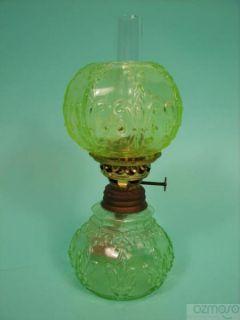 Antique Miniature Vaseline Glass Oil Lamp wMatching Shade Fleur de Lis