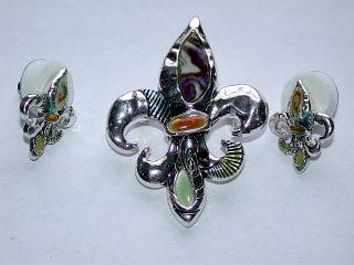 Fleur de Lis Gemstone Pin/Brooch & Pierced Earrings Set