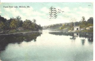 1909 Forest Park Lake Moberly Missouri Postcard