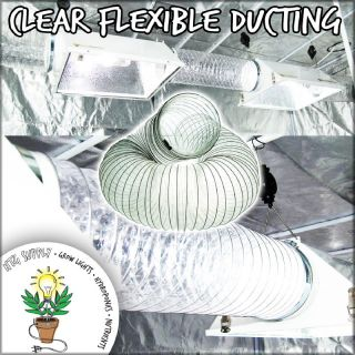Clear Ducting 6 or 8 Flexible Duct Fan Blower Inline Grow Tent Tube