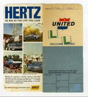 United Airlines Ticket Jacket Tickets 1966 Lax Las