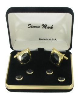 Steven Mark Cufflinks Mens Tuxedo Stud Set Black Cuff Links