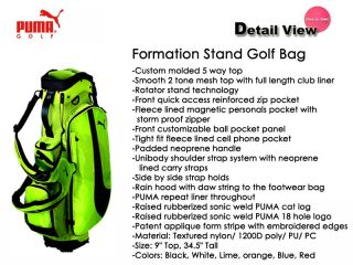 Puma Golf Formation Stand Golf Bag Lime Green
