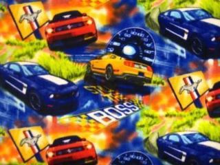 Ford Mustangs Still The Boss Half Yard Fleece Fabric