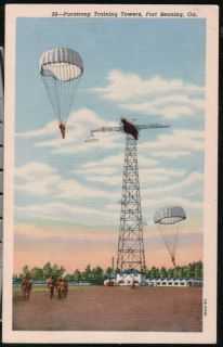 Fort Benning GA Paratroop Training Tower Vtg Postcard Old Military