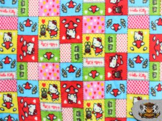 Fleece Printed Hello Kitty Color Patch Fabric 58 Wide Sold by The
