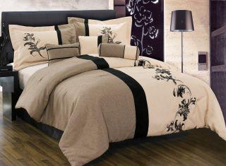 7pcs Brown Cream Black Floral Linen Comforter Set Bed in A Bag Queen