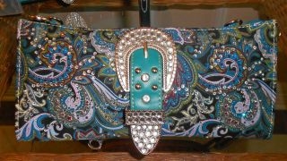 New Montana West Rhinestone Paisley Western Clutch Wallet Turquoise