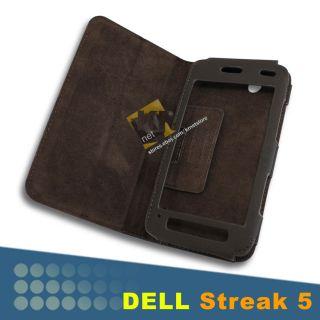 Leather Protection Case Folio Flip Book Cover For Dell Streak Mini 5