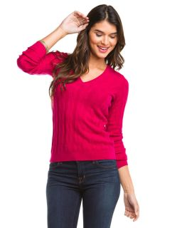 Forte Azalea Cashmere V Neck Cable Sweater