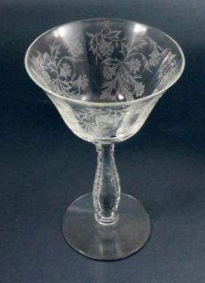 Fostoria Elegant Glass Tall Sherbet Champagne Heather Etch Retired