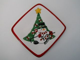 Fitz and Floyd Snowman Christmas Tree Cheers Snack Serving Plates