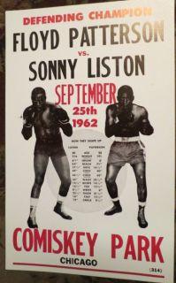 1962 60S FLOYD PATTERSON VS. SONNY LISTON BOXING POSTER COMISKEY PARK