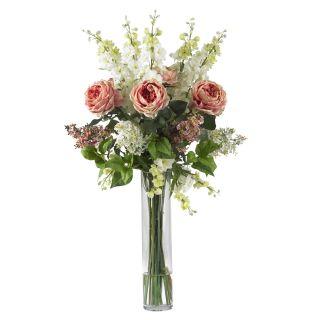 Large Artificial Silk Pink Rose Fake Flower Arrangement