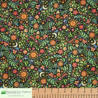 RJR Sew Catty Cosmic Cat Floral Black Cotton Quilt Quilting Fabric