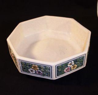 Vintage Weller Art Pottery  Florala  Octagon Low Bowl Planter