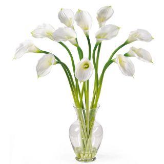 New Large Cream Calla Lilly Silk Fake Flower Arrangement w Vase