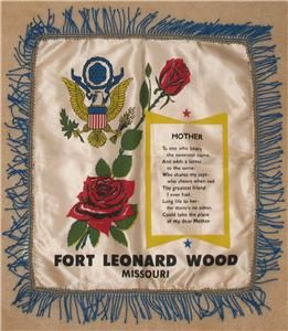 Vintage 1950?s Ft. Leonard Wood Army Base Pillow Cover for Mother