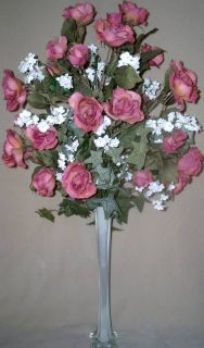 Eiffel Tower Tall Rose Silk Flower Floral Arrangement