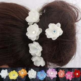Crystal Flower Hair Pins Wedding Bridesmaid Prom Race Hair Accessories