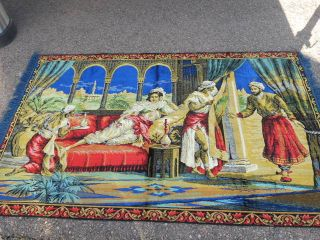 Large Vintage Tapestry Rug Beautiful Womans with Servants 49 x 76