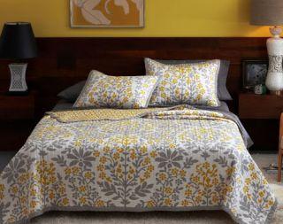 Mandala Full Queen Quilt Coverlet Yellow & Gray NEW Modern Bedding