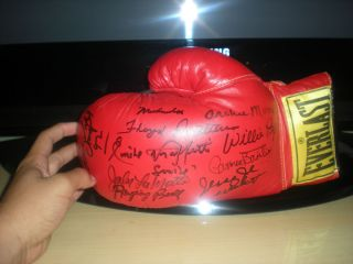 MUHAMMAD ALI FLOYD PATTERSON 7 SIGNATURES AUTOGRAPHED EVERLAST BOXING