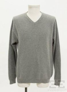 Mens Gray Cashmere V Neck Sweater Size Medium