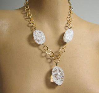 Sterling Silver Gold Vermeil Wash Mod Link Necklace Large Glass