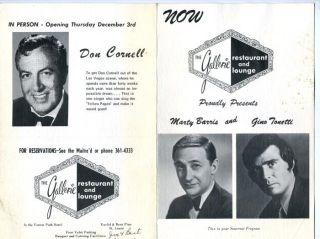 The Gallerie Restaurant Menu Program St Louis 1950S