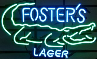 FOSTERS LAGER CROCODILE BEER BAR PUB NEON LIGHT SIGN me126