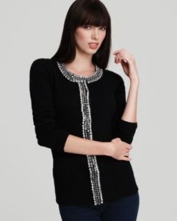 Elie Tahari New Findley Black Cashmere Embellished Cardigan Sweater