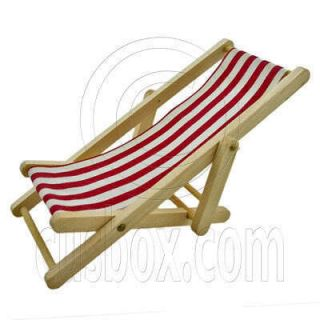 Red Wood Folding Beach Outdoor Chair Bench 1 12 Dolls House Dollhouse