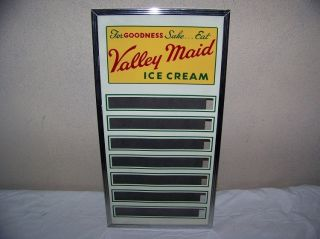 Vintage 1950s Valley Maid Ice Cream Soda Fountain Menu Sign Very Neat