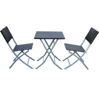 Table Wicker Ratten Set Folding Chairs Table Patio Garden Furniture