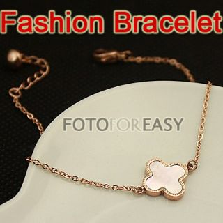 Rope Gold Color Lovely Heart Cute Charm Four Leaf Clover