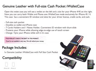 Wallet Card Iwalletcase Flip Case Cover for Apple iPhone 4S s 4