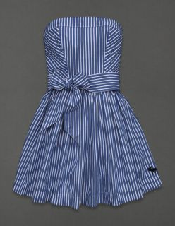 Abercrombie Fitch Womens Dress Fiona Strapless Mini Blue White Stripes