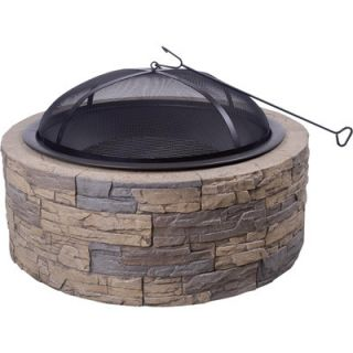 Cast Stone Outdoor 35 Fire Pit Charcoal Grill w Screen Protector