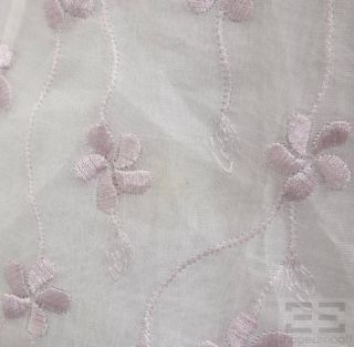 Anne Fontaine Sheer Pink Floral Embroidered Button Up Top Size 2